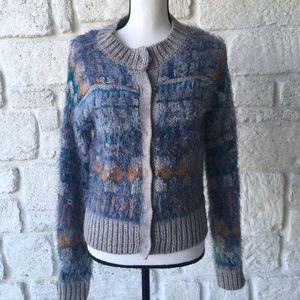 Free People Blue & Gray Fuzzy Cardigan Sweater S